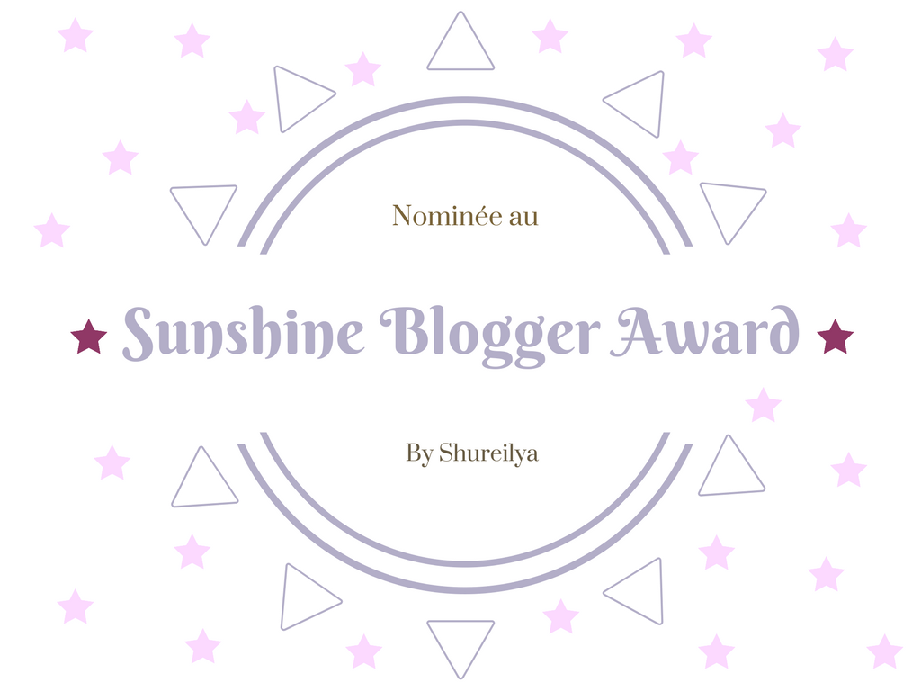 ma nomination au sunshine blogger award